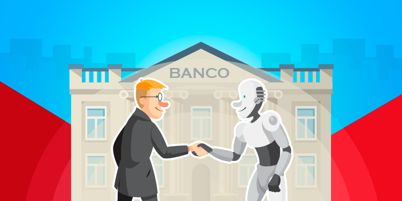 Robô com Inteligência Artificial aplicada nos bancos.